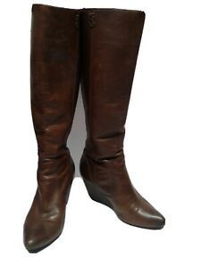 Womens Brown Zip Up Boots Wedge Heel High Fashion Tall Faux Leather Size 6 NEW