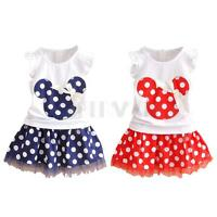 Minnie Mouse Girl Kid Baby Top Skirt Set Outfit Shirt 2PC Dress Polka Dot Summer