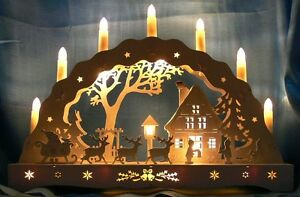 Beautiful wooden christmas scene window arch christmas for Arch candle christmas decoration