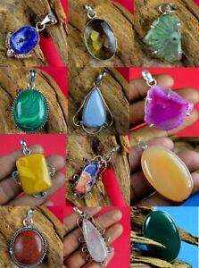 Labradorite-amp-Mix-gemstone-925-sterling-silver-plated-10pcs-Pendant-EB-1019