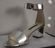 $495 Ralph Lauren Collection Paloma Silver Metallic Mirror Leather Shoes  7.5
