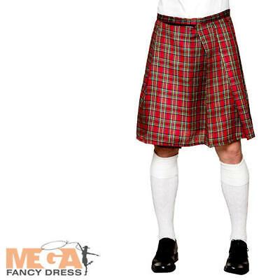 Tartan Red Kilt Mens Fancy Dress Scottish Highlander Adults Costume Accessory