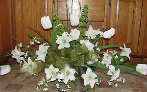 Valentines cemetery silk flower arrangement memorial white sage image is loading valentines cemetery silk flower arrangement memorial white sage mightylinksfo