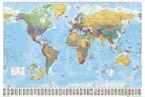 Large world map poster wall chart with country flags new up to image is loading large world map poster wall chart with country gumiabroncs Images