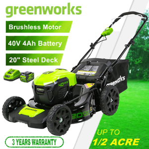 Greenworks 40V 20'' Cordless Lawn Mower Brushless Metal Deck with 4.0Ah Battery