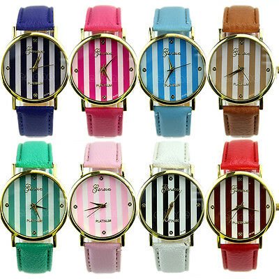 Classic Geneva Stripes Print Dial Leather Band Women Analog Quartz Wrist Watches