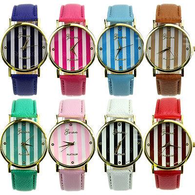 Classic Geneva Stripes Print Dial Leather Band Women Analog Quartz Wrist Watches