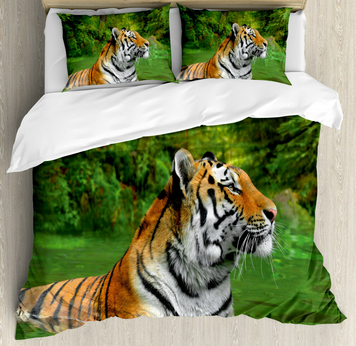 Tiger Duvet Cover Set with Pillow Shams Siberian Wild Cat in Lake Print