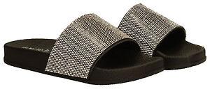 4cf49785c Image is loading Womens-Diamante-Slides-Mules-Ladies-White-Black-Silver-