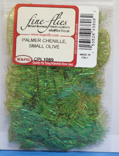 Palmer Chenille SMALL 1 cm Faserlänge x 3 Meter Wapsi U.S.A OLIVE