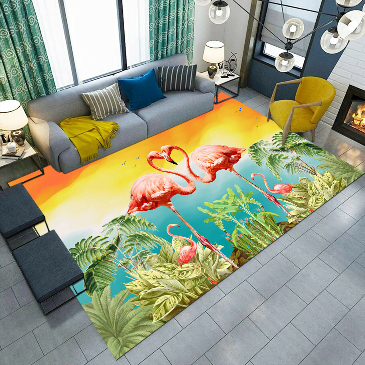 Tropical Flamingo Palm Tree Area Rugs Living Room Carpet Bedroom Floor Mat Decor