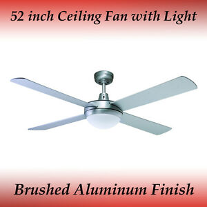 Genesis 52 inch (1300mm) Brushed Aluminum Ceiling Fan with Light