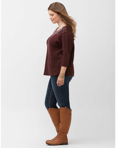 Lane Bryant Woman/'s Plus Size Embellished Textured Sweater NWT 1X 2X