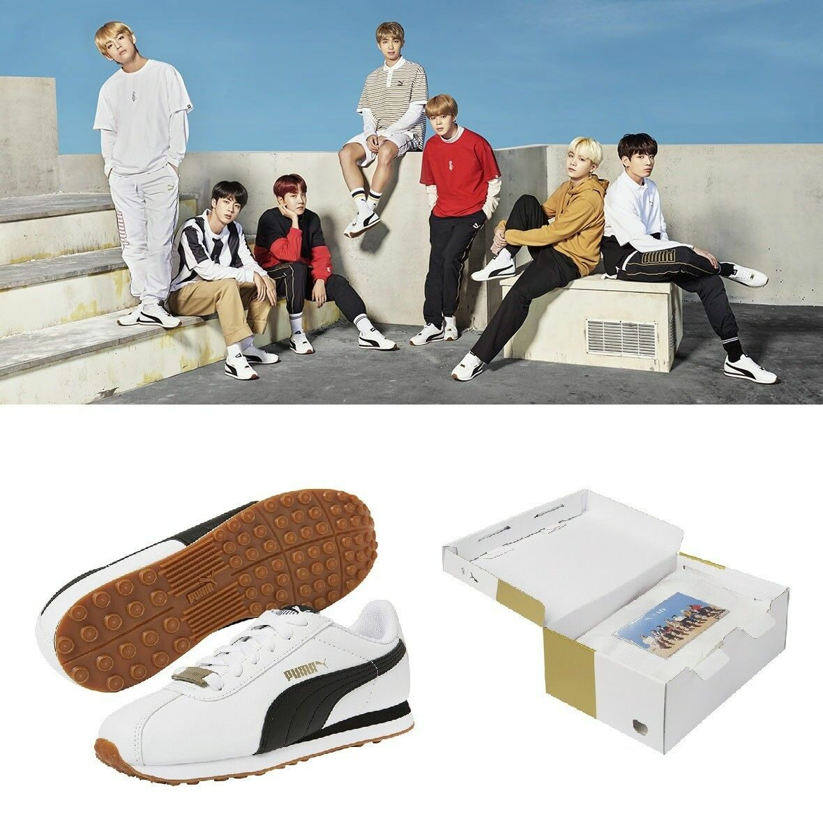 PUMA X BTS  Limited Edition Turin Sneakers Chaussures Official Goods Photo Card Box