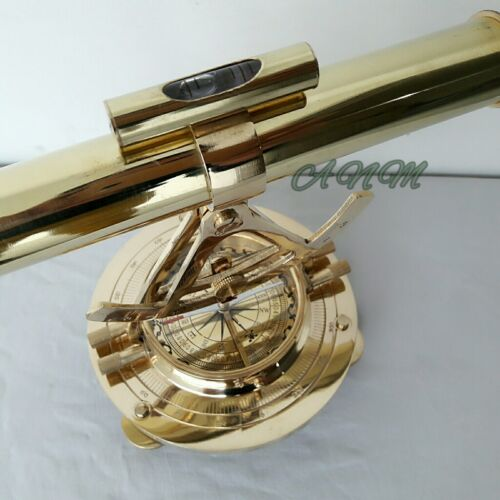 TELESCOPE ALIDADE WITH BASE COMPASS NAUTICAL BRASS MARITIME GIFT/'