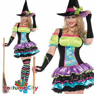 Image is loading Womens-Ladies-Pop-Neon-Rainbow-Colour-Pretty-Witch-  sc 1 st  eBay & Womens Ladies Pop Neon Rainbow Colour Pretty Witch Halloween Fancy ...