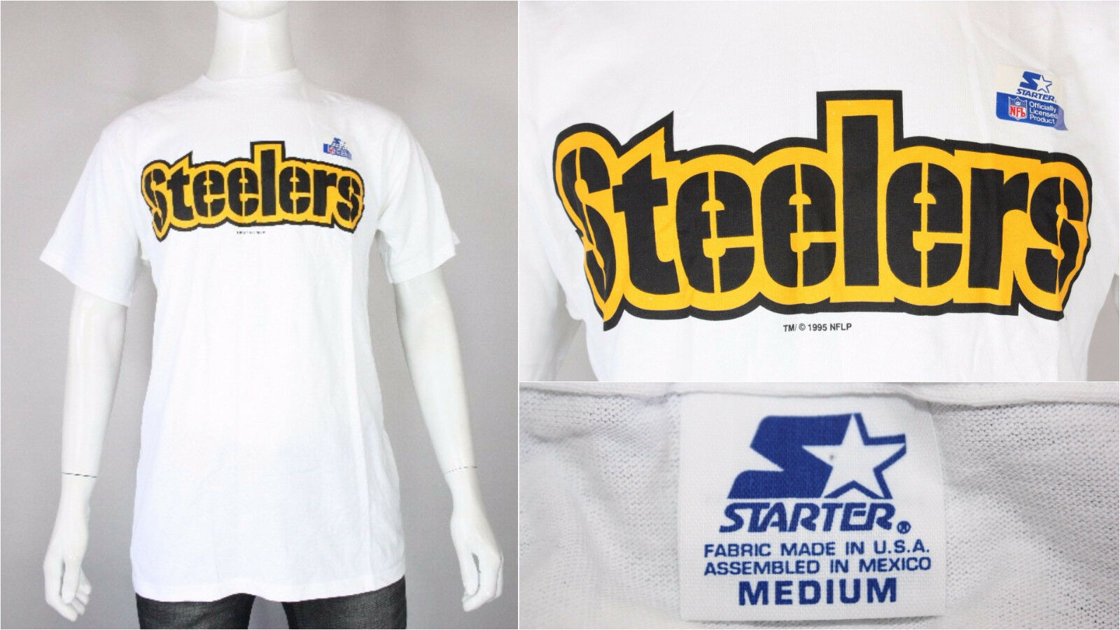 Pittsburgh Steelers Principiante T-SHIRT M L Vintage Nuovo Deadstock 27.4ms