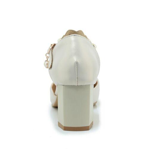 cuero Tacones de de cuadrada Perlas Zapatos altos Correa Elegante mujer punta para Bombas bloque tobillo con zqtXBvgxnw