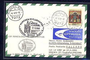 58405-LH-FF-Muenchen-Palermo-Italien-17-5-92-Karte-FDC-Bund-1610-Religion