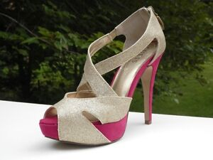 New-Authentic-Guess-Pumps-By-Marciano-Lanise-M-Multi-Color-Suede-Textile-8-5