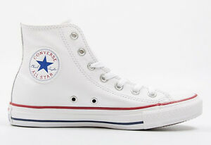 Mens-Converse-Chuck-Taylor-All-Star-Hi-Top-Leather-Fashion-Sneaker-Optical-White