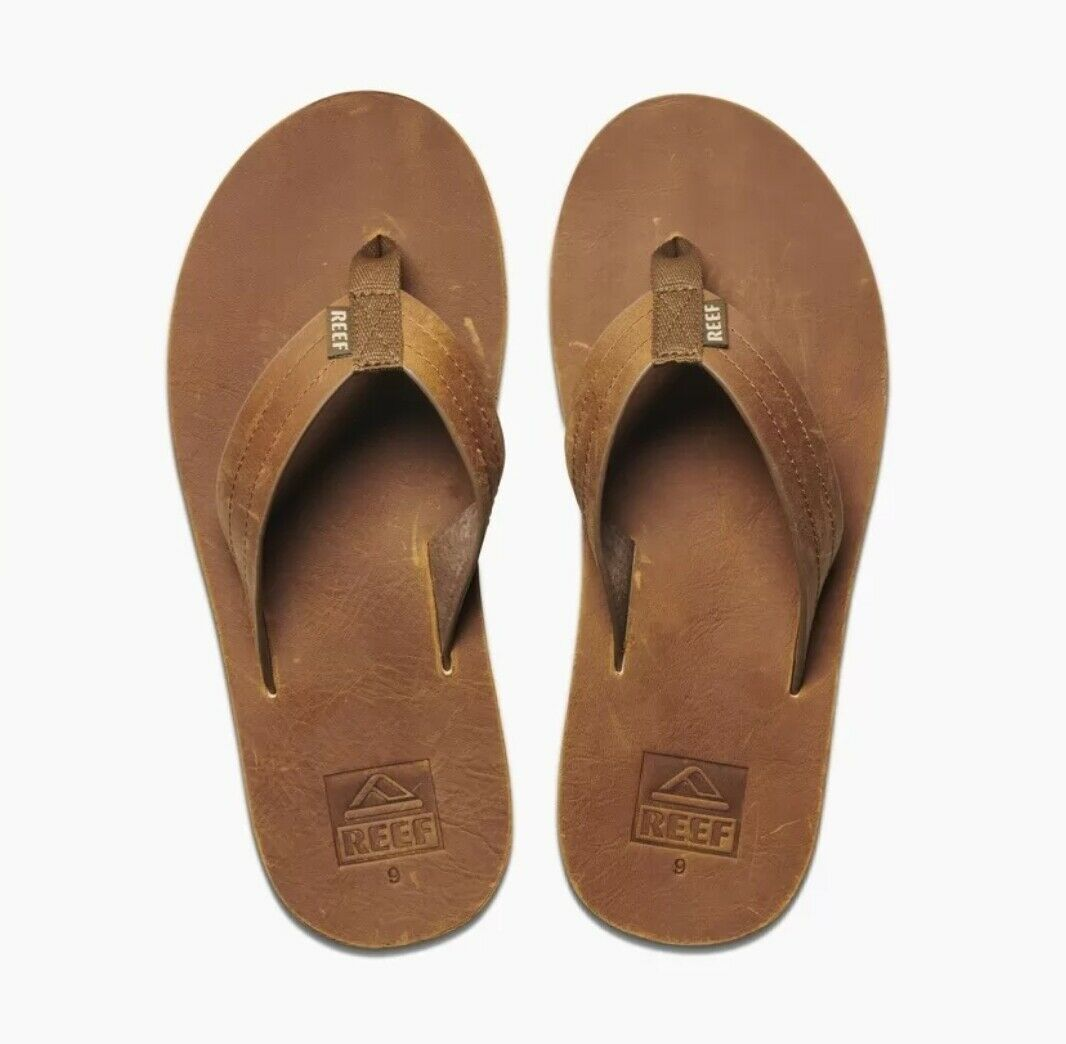 REEF    Voyage Le     Mens marrón   Bronze Leather Flip Flops Sandals    NEW