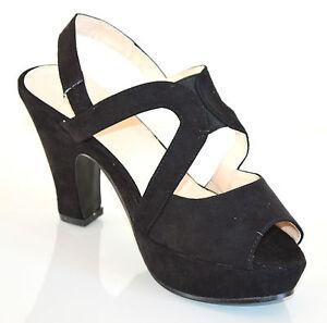 SANDALI-NERI-donna-scarpe-TACCO-MEDIO-ALTO-pelle-scamosciata-decolte-plateau-20X