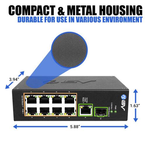 96W Gigabit // SFP Uplink BV-Tech 8 Port PoE+ DIN Rail Switch 802.3at -A
