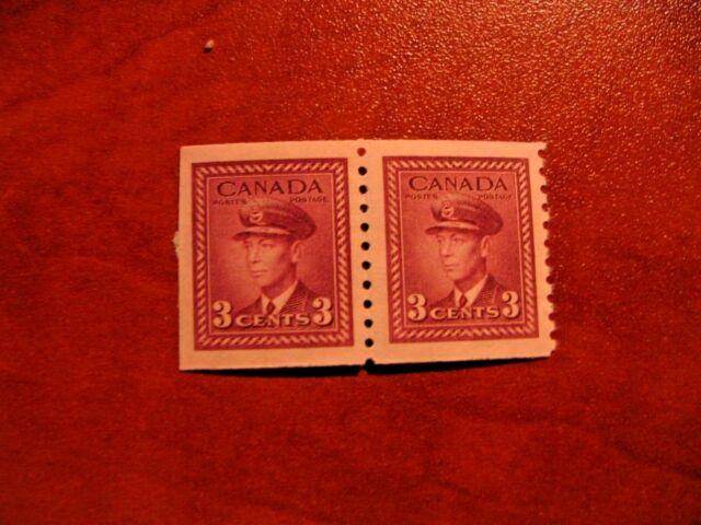 Canada 1948 #280 3c rose violet King George VI War Issue pair Mint Unused VFNH