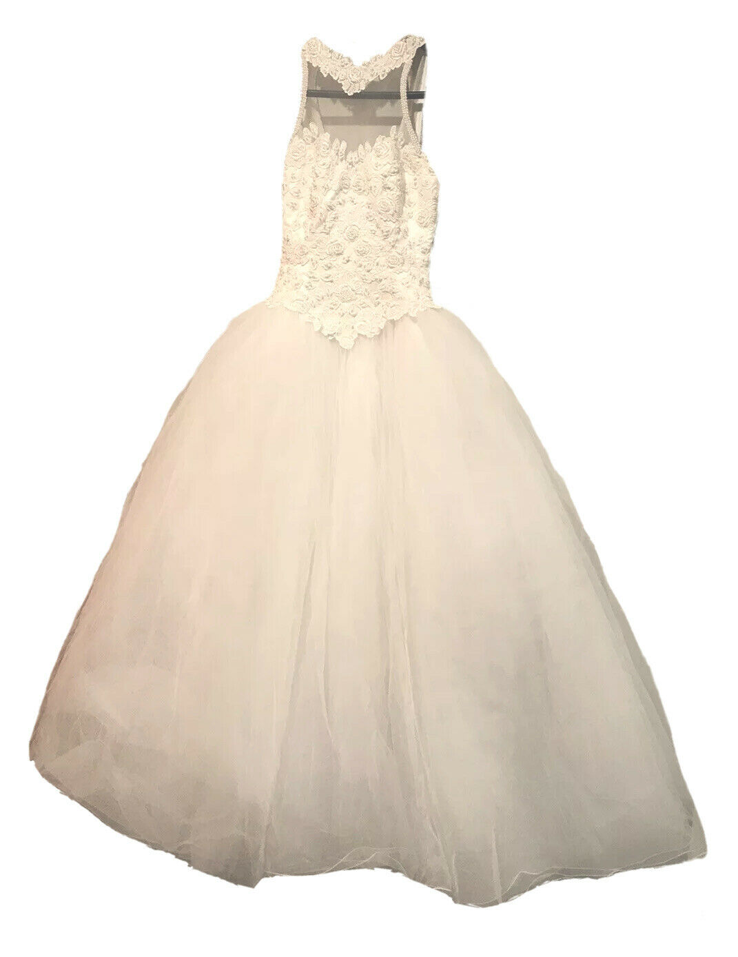 VTG Demetrios Bridal Wedding Dress Size 6 Beaded Front Lace Illusion Style 3657