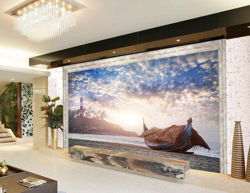 3D Boat Beach 5 Wallpaper Murals Wall Print Wallpaper Mural AJ WALLPAPER UK