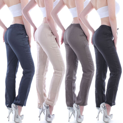 Damen Hose Leinen Jogging Leinenhose Pluderhose Aladin Pump Sport Yoga B92