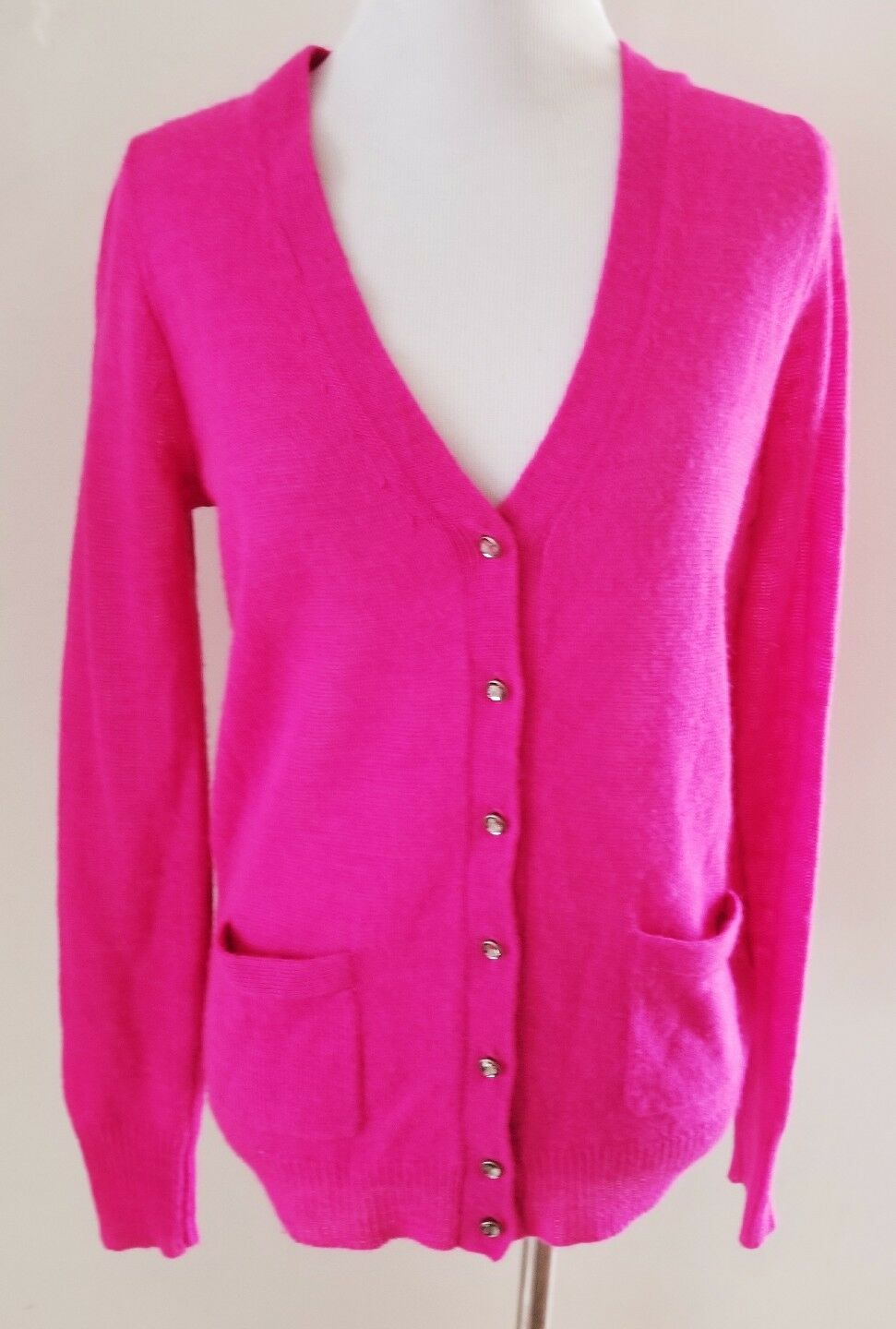 J.CREW ALPACA WOOL HOT PINK SWEATER CARDIGAN SZ S 4 6