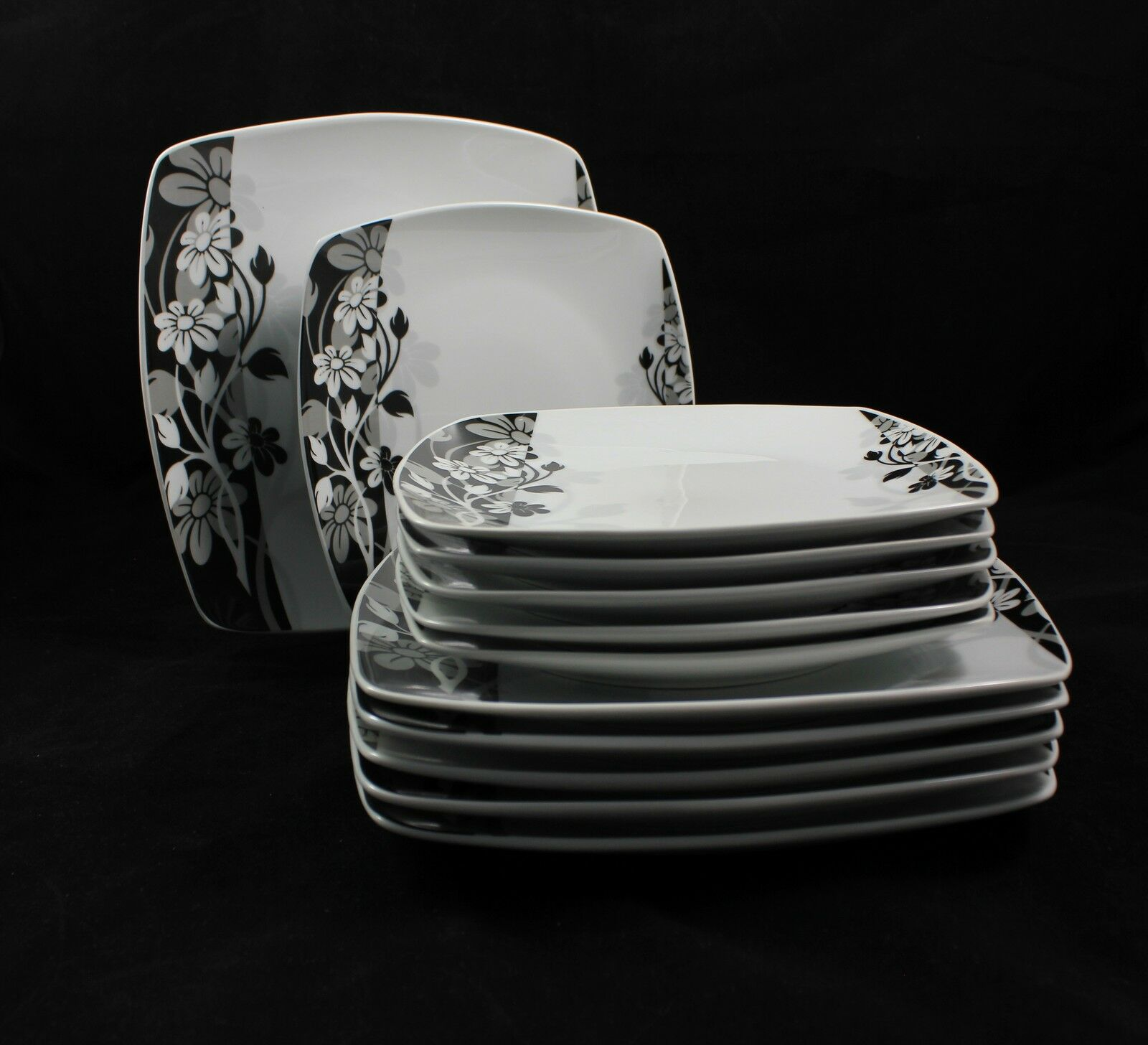 Porcelaine Vaisselle Vaisselle Rectangulaire 24tlg Alani pour 12 personnes