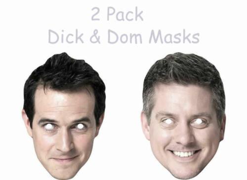 Lot de 2-Dick et Dom Masques Célébrité Amusant Carte Masque-Tous les masques sont Pré Cut UK