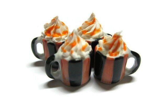4 Mugs Coffee Cups Dollhouse Miniatures Ceramic Supply Food Halloween Orange