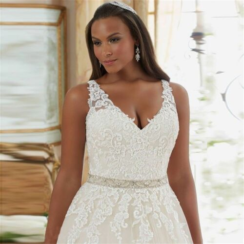 New Lace V Neck Wedding Dress Bridal Gown Plus Size14 16 18 20 22 24 26