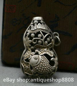 China-Miao-Silver-Fengshui-Fish-Goldfish-Auspicious-Lucky-Hollow-Amulet-Pendant