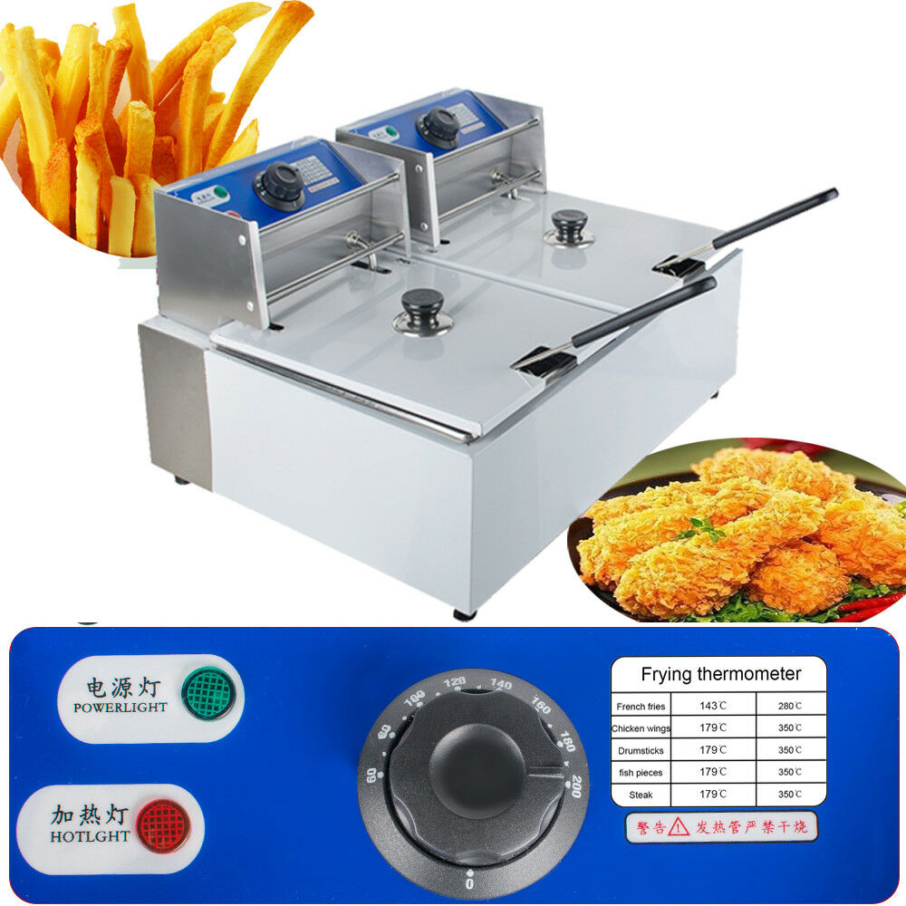 11 Liter Electric Countertop Deep Fryer Dual Two Tanks Commercial Restaurant Lid