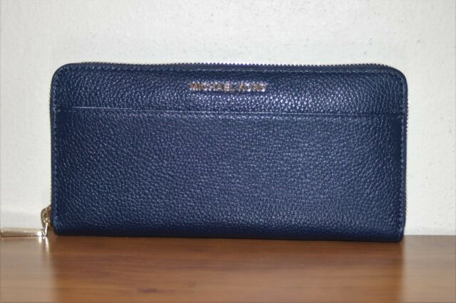 Michael Kors Mercer Admiral Pebble Leather Zip Around Wallet