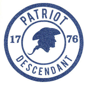 Revolutionary-War-Descendant-Decal-Blue-Glitter-plus-Free-Shipping