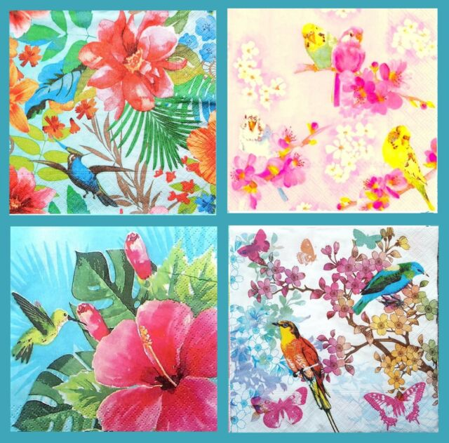 4 Different Single Lunch Paper Napkins for Decoupage Party Napkin Flowers Mix