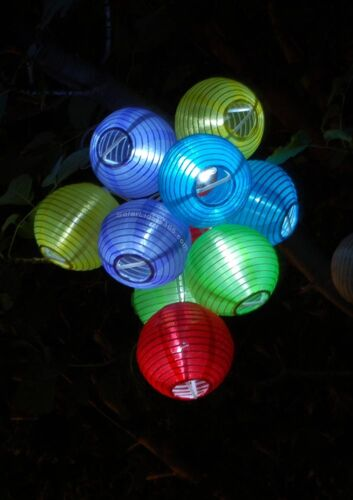 2004 Solar Fairy Party Fairy String Lights,10 Tropical Fabric Lanterns Outdoor