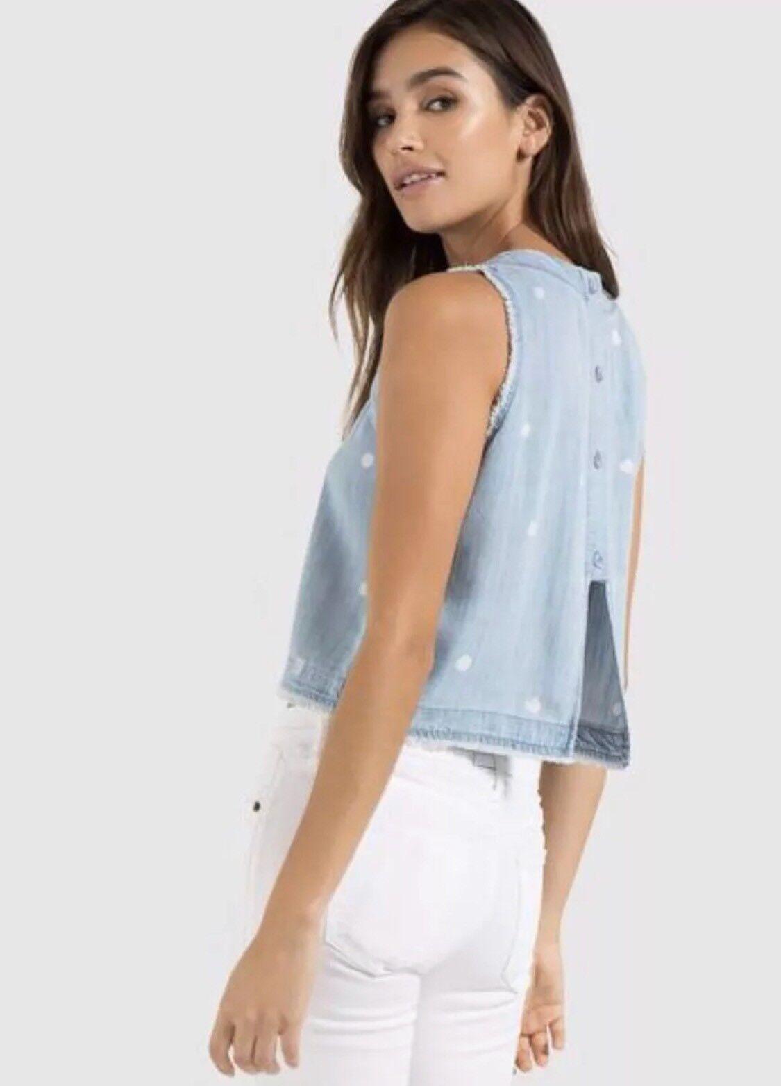 Nouveau 268   CLOTH & Stone SZ M Bouton Dos Débard Et Shorts in Light Wash