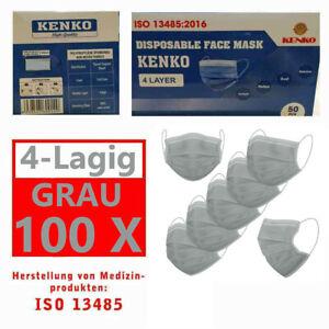 100 Stück ISO NORM Zeichen Schutz-Masken Mundschutz-Maske 4 Lagig Einwegmaske