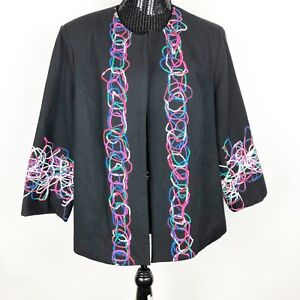 TRENZ-Theresa-Renz-Woman-Jacket-Plus-Size-1X-Black-Embroidery-Multi-Colored-Wool