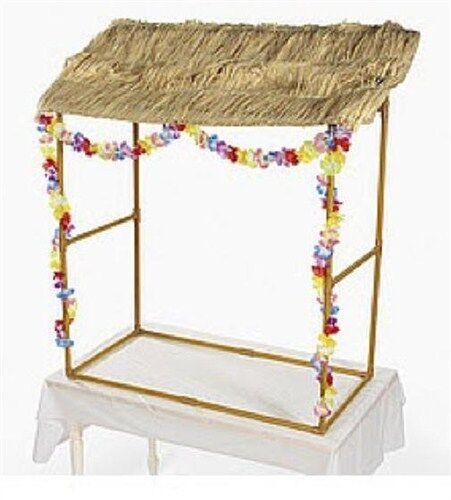 Tabletop Tiki Hut W/ Leis U0026 Grass Top Raffia For Hawaiian Table Luau  Decorations