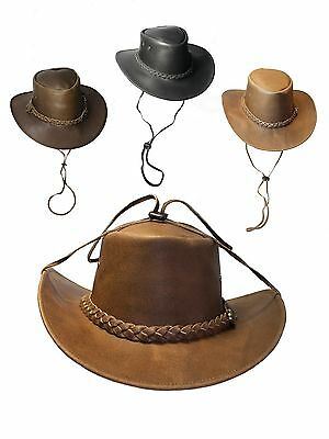 Leather Hide Australian Outback Bush Wide Soft Brim Hat With Chin Strap £19.49
