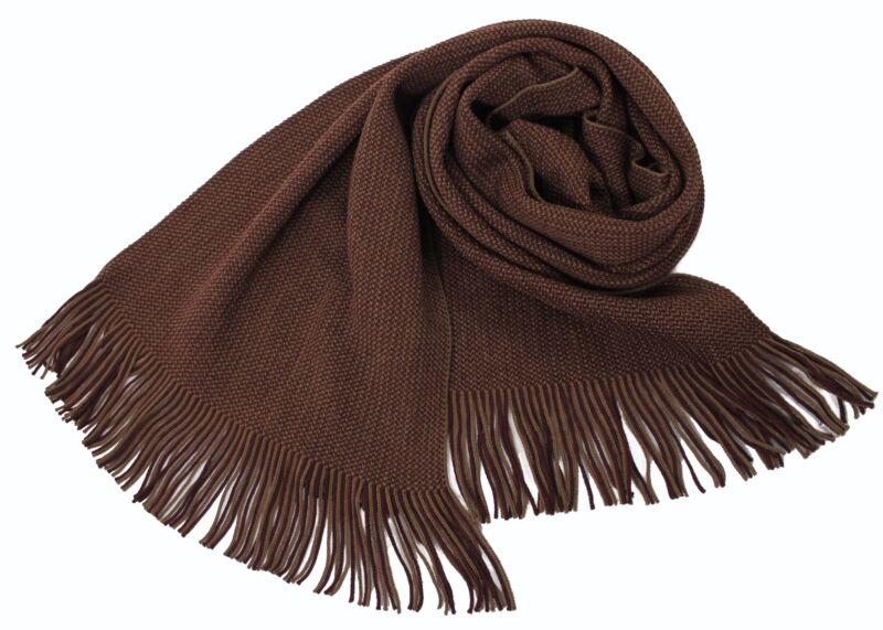 100% QualitäT Neu!!! Klassischer Strickschal Aus 100% Wolle Merino Mit Fransen Braun Rot Produkte HeißEr Verkauf