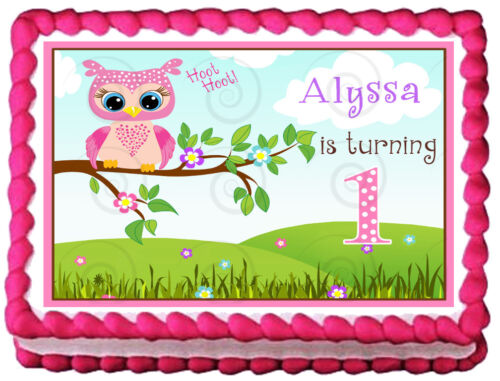 PINK OWL 1st  Year PARTY Image Edible Cake topper